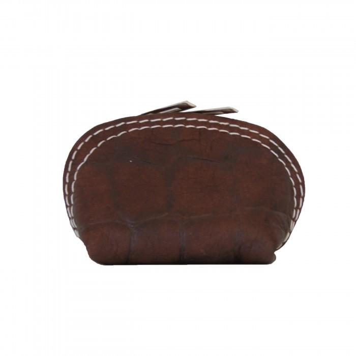 Petit porte-monnaie marron matelassé en cuir véritable de vachette à surpiqures blanches