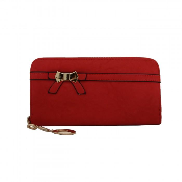 Porte-monnaie - portefeuille rouge avec nœoeud doré, fermeture éclair, nombreux rangements et chaînette dorée
