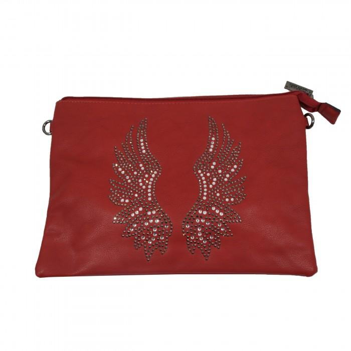 Pochette de soirée rouge ailes d'ange brillantes