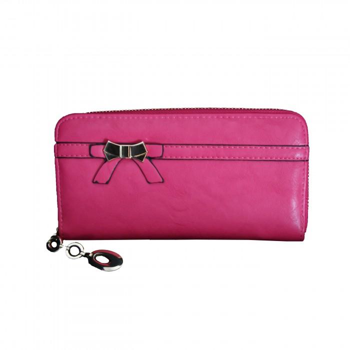 Porte-monnaie - portefeuille rose avec nœoeud doré, fermeture éclair, nombreux rangements et chaînette dorée