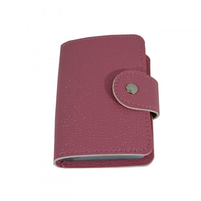 Porte-cartes rose pale à pression style crocodile avec liseré blanc