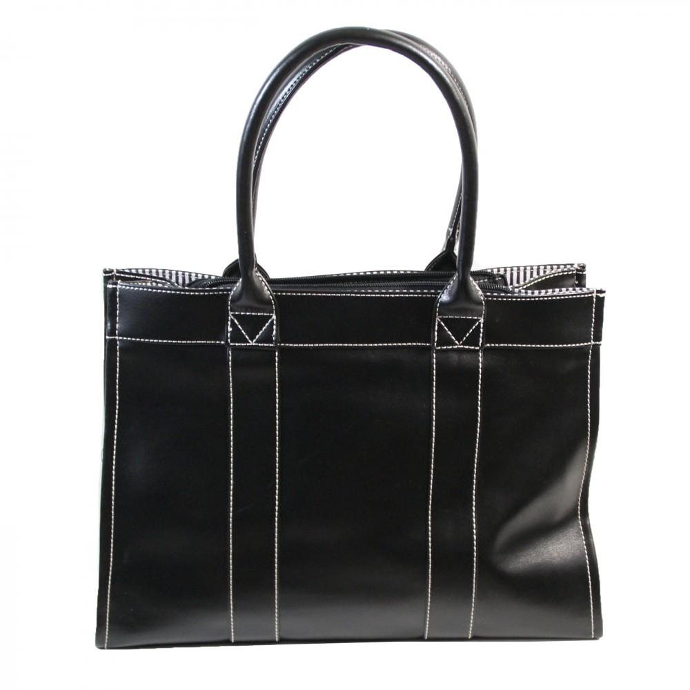 sac main noir rectangulaire en synth tique surpiqures et doublure marini re. Black Bedroom Furniture Sets. Home Design Ideas