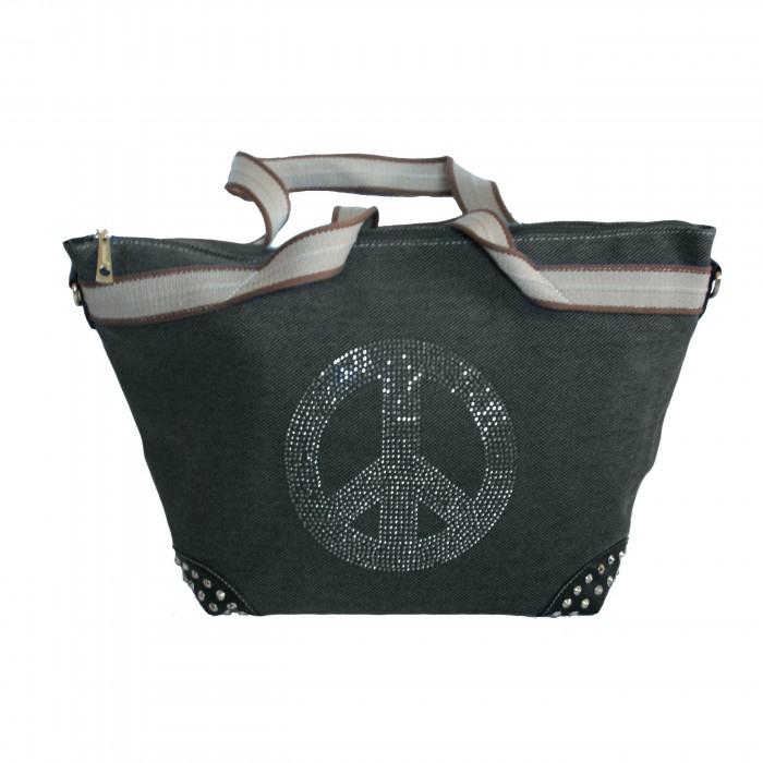 Sac à main noir en tissu avec motif Peace&Love en paillettes et clous