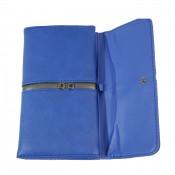Porte-chéquier - Porte-cartes bleu en simili-cuir avec détail argent