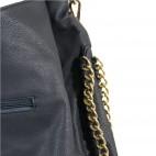 Sac à main bleu foncé simili-cuir avec détails et maillons dorés