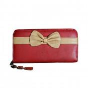 Porte-monnaie - portefeuille rouge avec nœoeud beige, fermeture éclair, nombreux rangements et chaînette argentée
