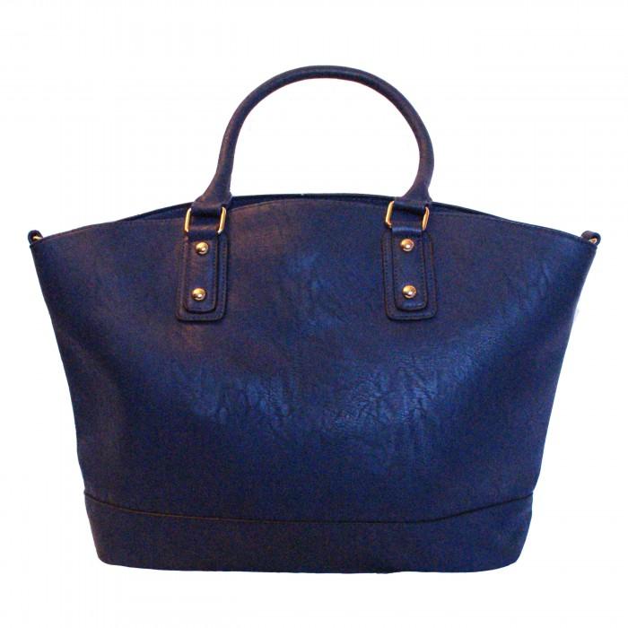Sac à main bleu style cabas en simili-cuir mat très classe avec pochette intégrée