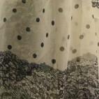 Etole blanche à imprimé façon dentelle noire et petits pois noirs