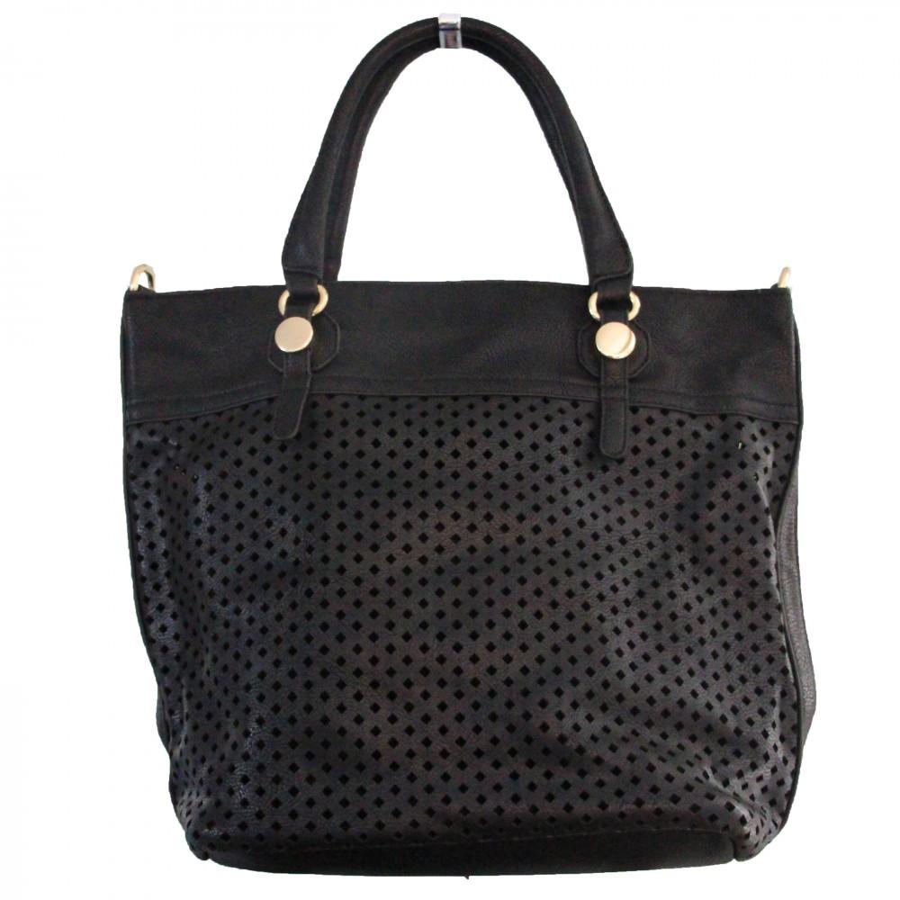 sac main noir ajour tr s original avec losanges et. Black Bedroom Furniture Sets. Home Design Ideas