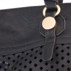 Sac à main noir ajouré très original avec losanges et pochette de soirée assortie