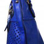 Sac à main bleu ajouré très original avec losanges et pochette de soirée assortie