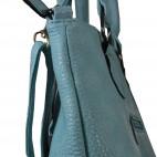 Sac à main style cabas rectangulaire bleu, en simili-cuir, avec doublure rouge, boucles et belles finitions