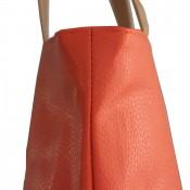 Sac à main cabas orange en simili-cuir à lanières de couleur camel avec pochette de soirée assortie