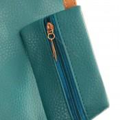 Sac à main cabas bleu vert en simili-cuir à lanières de couleur camel avec pochette de soirée assortie