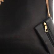 Sac à main cabas noir en simili-cuir à lanières de couleur camel avec pochette de soirée assortie