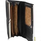 Porte-cartes portefeuille noir en simili-cuir avec bande chromée et noeud doré