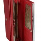 Porte-cartes portefeuille rouge bordeaux en simili-cuir avec doublure plus claire, bande chromée et noeud doré
