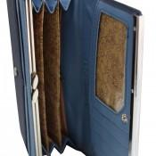 Porte-cartes portefeuille bleu marine en simili-cuir avec doublure plus claire, bande chromée et noeud doré