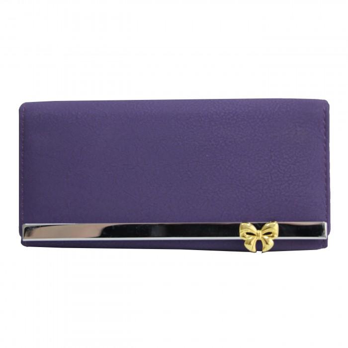 Porte-cartes portefeuille violet en simili-cuir avec doublure plus claire, bande chromée et noeud doré