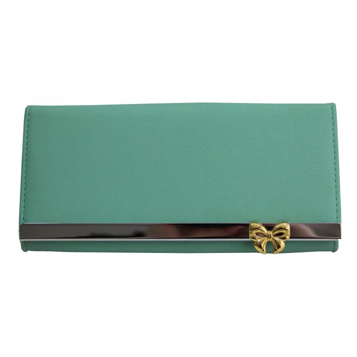 Porte-cartes portefeuille vert bleu en simili-cuir avec doublure plus claire, bande chromée et noeud doré