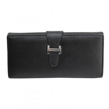 Porte-cartes portefeuille noir en simili-cuir avec fermeture à boucle chromée très originale