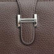Porte-cartes portefeuille marron en simili-cuir avec fermeture à boucle chromée très originale