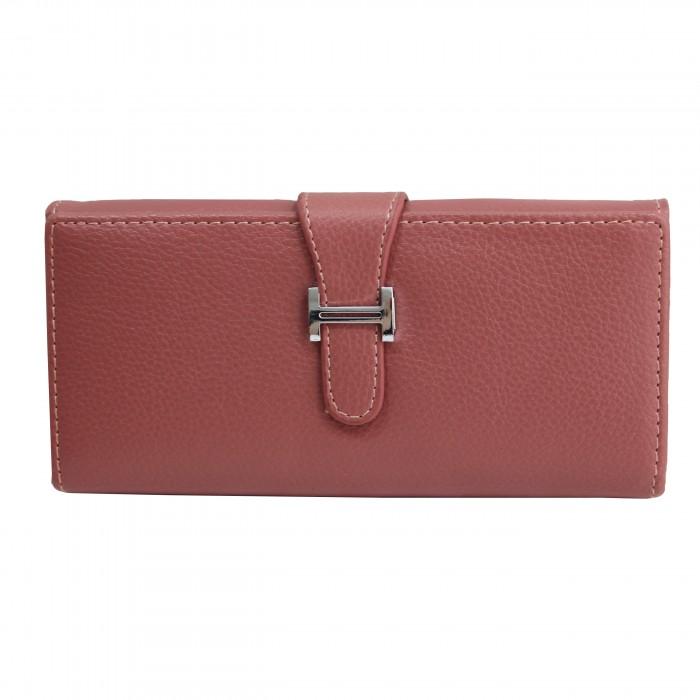 Porte-cartes portefeuille rose en simili-cuir avec fermeture à boucle chromée très originale