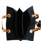 Sac à main noir très original avec intérieur éventail et pochette assortie