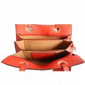 Sac à main rouge très original avec intérieur éventail et pochette assortie