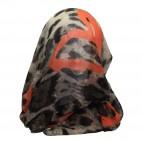 Foulard avec imprimé style animal léopard marron et coeurs oranges
