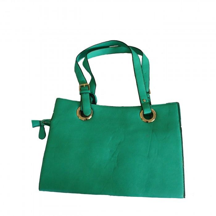 Sac à main vert très original avec intérieur éventail et pochette assortie