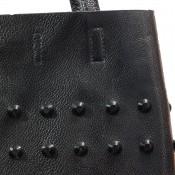 Sac à main noir en simili-cuir avec rivets - clous, et pochette de soirée fournie