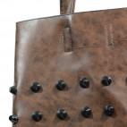 Sac à main marron taupe en simili-cuir avec rivets - clous, et pochette de soirée fournie