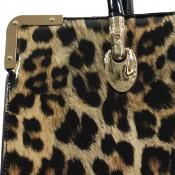 Sac à main léopard rectangulaire avec détails dorés