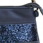 Pochette de soirée bleue simili-cuir avec bande à paillettes bleues