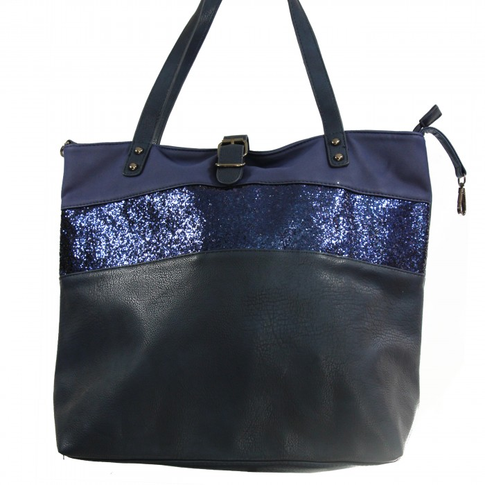 Grand Sac Bandoulière Bleu Marine : Grand sac ? main bleu fonc? simili cuir avec fermeture