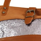 Grand sac à main marron camel simili-cuir avec fermeture originale et bande à paillettes argentées