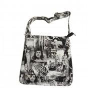 Sacoche en bandoulière besace avec imprimé vintage noir et blanc