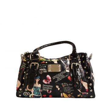 Petit sac à main noir avec imprimés fashion, lanières crocodiles et clous
