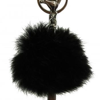 Porte-clés bijou de sac pompon noir en fourrure synthétique