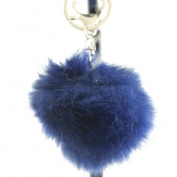 Porte-clés bijou de sac pompon bleu foncé marine en fourrure synthétique