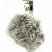 Porte-clés bijou de sac pompon bicolore gris et blanc en fourrure synthétique