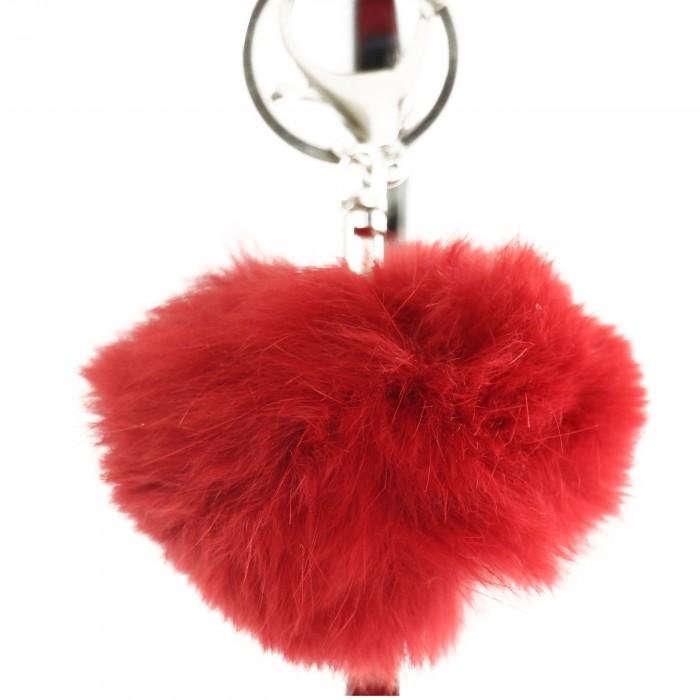 Porte-clés bijou de sac pompon rouge en fourrure synthétique