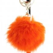 Porte-clés bijou de sac pompon orange en fourrure synthétique