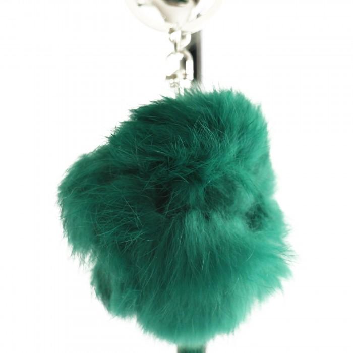 Porte-clés bijou de sac pompon vert en fourrure synthétique