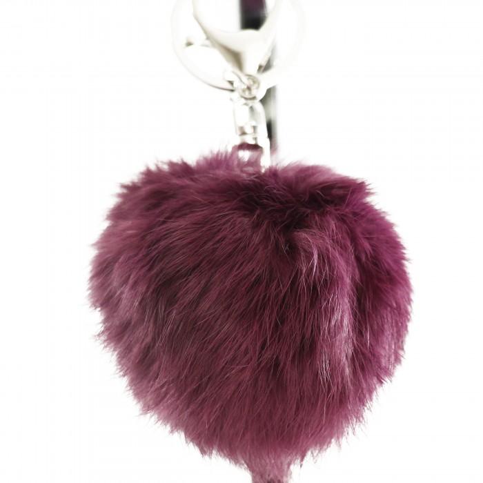 Porte-clés bijou de sac pompon violet en fourrure synthétique