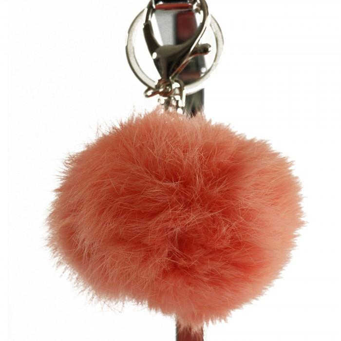 Porte-clés bijou de sac pompon rose saumon en fourrure synthétique