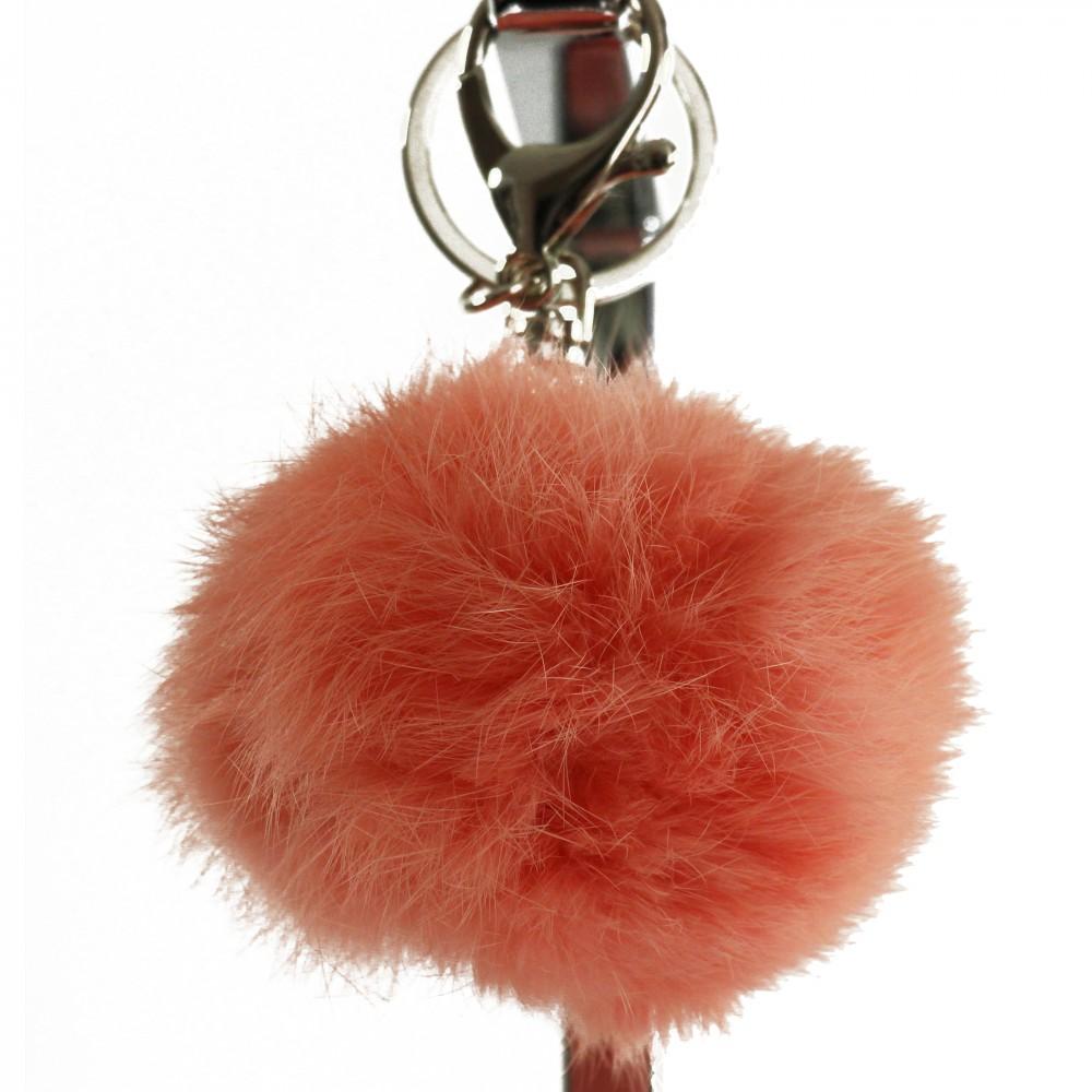 Porteclés Bijou De Sac Pompon Rose Saumon En Fourrure Synthétique - Pompon porte clé