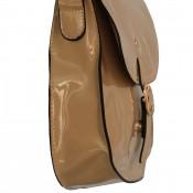 Petite besace sacoche beige en simili-cuir vernis à fermeture originale