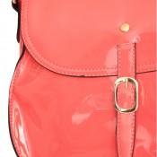 Petite besace sacoche rose en simili-cuir vernis à fermeture originale